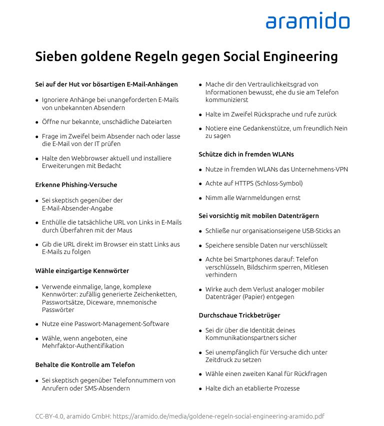 Merkblatt Sieben goldene Regeln gegen Social Engineering